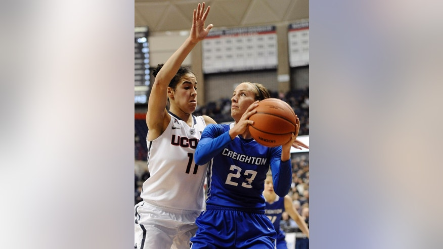 Creighton's Marissa Janning, right, looks to shoot as Connecticut's Kia Nurse defends during the first half of an NCAA college basketball game, Sunday, Nov. 23, 2014, in Storrs, Conn. Connecticut won 96-60. (AP Photo/Jessica Hill)
