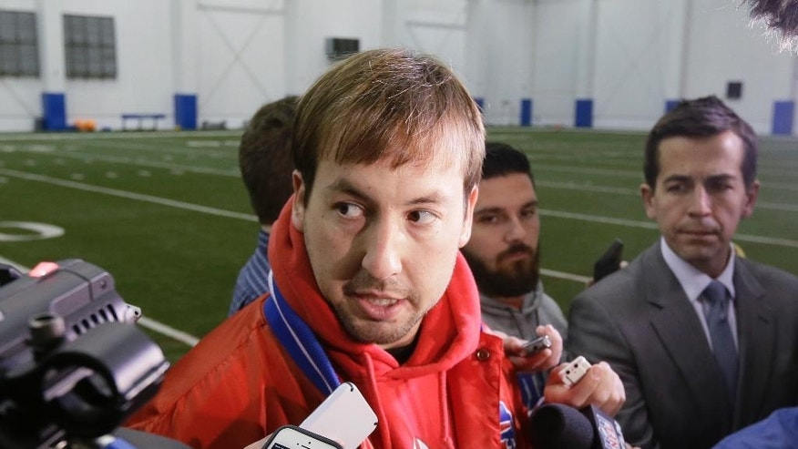 Buffalo Bills quarterback Kyle Orton talks to reporters at the Detroit Lions' NFL football training facility in Allen Park, Mich., Friday, Nov. 21, 2014. The Bills are using the facility in preparation for Monday's game against the New York Jets, which was moved to Detroit because of the snowstorm in Buffalo. (AP Photo/Carlos Osorio)
