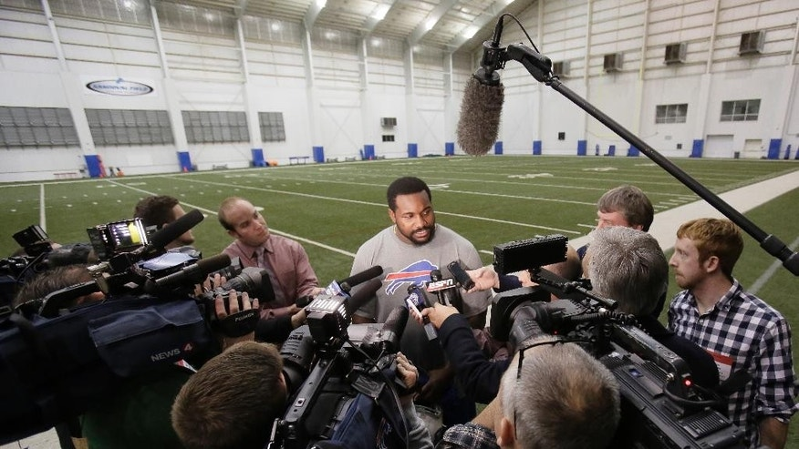 Buffalo Bills defensive tackle Marcell Dareus speaks with the media after practice at the Detroit Lions' indoor NFL football training facility in Allen Park, Mich., Saturday, Nov. 22, 2014. The Bills are using the facility in preparation for Monday's game against the Jets, which was moved to Detroit because of the snowstorm in Buffalo. (AP Photo/Duane Burleson)