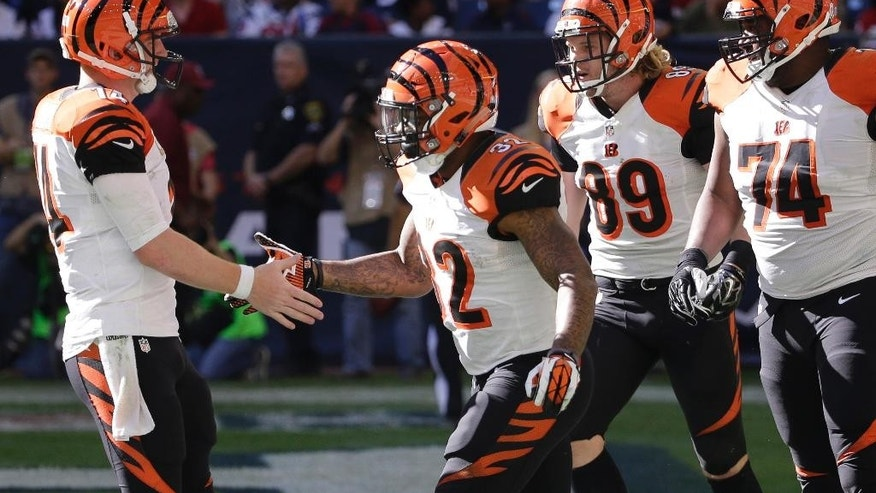 Cincinnati Bengals' Jeremy Hill (32) celebrates with teammate Andy Dalton, left, after running for a touchdown against the Houston Texans during the third quarter of an NFL football game, Sunday, Nov. 23, 2014, in Houston. (AP Photo/David J. Phillip)