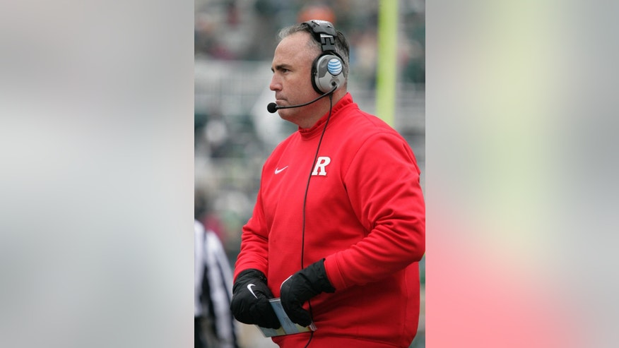 Rutgers coach Kyle Flood walks the sidelines during the fourth quarter of an NCAA college football game against Michigan State, Saturday, Nov. 22, 2014, in East Lansing, Mich. Michigan State won 45-3. (AP Photo/Al Goldis)