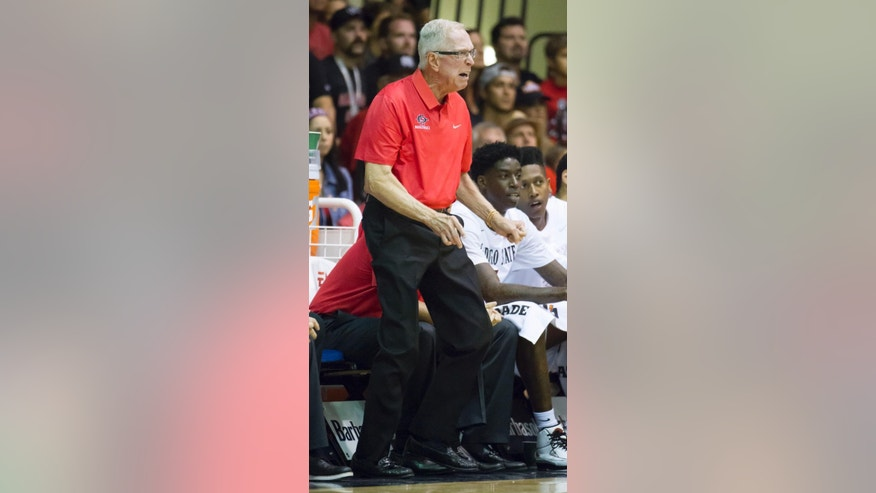 San Diego State head coach Steve Fisher shouts instructions to his team while the take on Brigham Young in the first half of an NCAA college basketball game at the Maui Invitational on Monday, Nov. 24, 2014, in Lahaina, Hawaii. (AP Photo/Eugene Tanner)