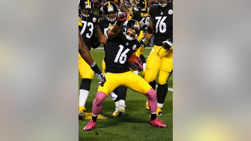 FILE - In this file photo from Oct. 20, 2014, Pittsburgh Steelers wide receiver Lance Moore (16) celebrates after making a touchdown catch against the Houston Texans in the second quarter of the NFL football game in Pittsburgh. Moore insists the upcoming contest against New Orleans is just another game, but he understands he'll be in a unique position after he spent nearly a decade with the Saints. (AP Photo/Gene Puskar, File )