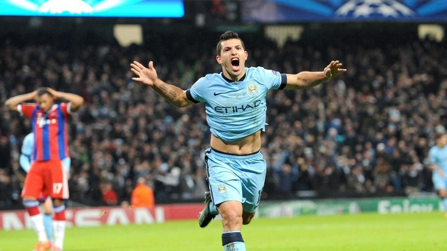 Manchester City's Sergio Aguero celebrates scoring his sides third goal of the game during the UEFA Champions League match at the Etihad Stadium, Manchester, England, Tuesday Nov. 25, 2014. (AP Photo/PA, Tim Goode)  UNITED KINGDOM OUT  NO SALES  NO ARCHIVE