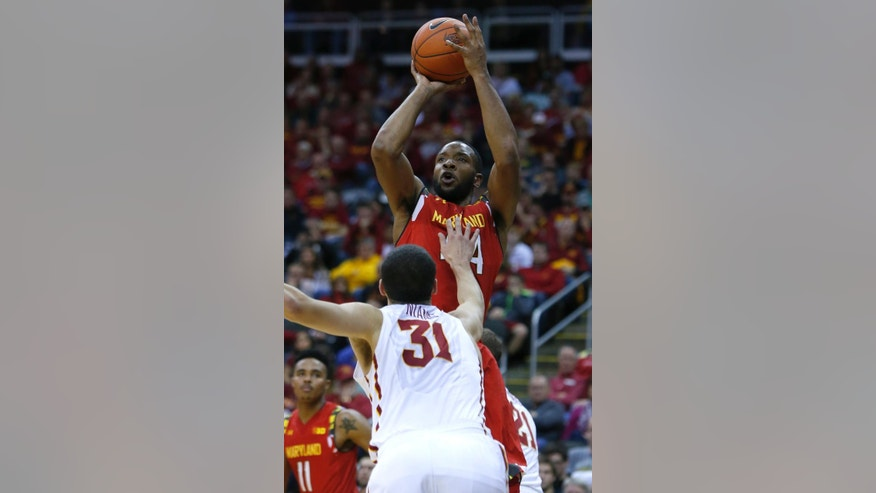 Maryland's Dez Wells (44) shoots over Iowa State forward Georges Niang (31) in the second half of an NCAA college basketball game Tuesday, Nov. 25, 2014, in Kansas City, Mo. Wells scored 34 points in a 72-63 win that gave them the CBE Hall of Fame Classic title.  (AP Photo/Ed Zurga)