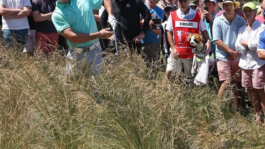 Northern Ireland's Rory McIlroy is unable to lift his ball out of the thick tussocks in the rough on the 9th hole during the third round of the Australian Open Golf championship in Sydney, Saturday, Nov. 29, 2014. (AP Photo/Rick Rycroft)