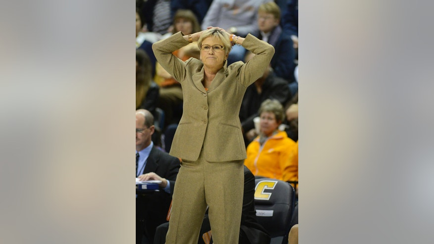 Tennessee head coach Holly Warlick watches her players in the second half of an NCAA college basketball game against Chattanooga, Wednesday, Nov. 26, 2014, in Chattanooga, Tenn. (AP Photo/Billy Weeks)