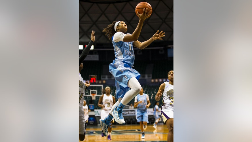 North Carolina forward Stephanie Mavunga (1) attempts a layup during a NCAA women's college basketball game Rainbow Wahine shootout tournament on Saturday Nov. 29, 2014 in Honolulu.  (AP Photo/Kent Nishimura)