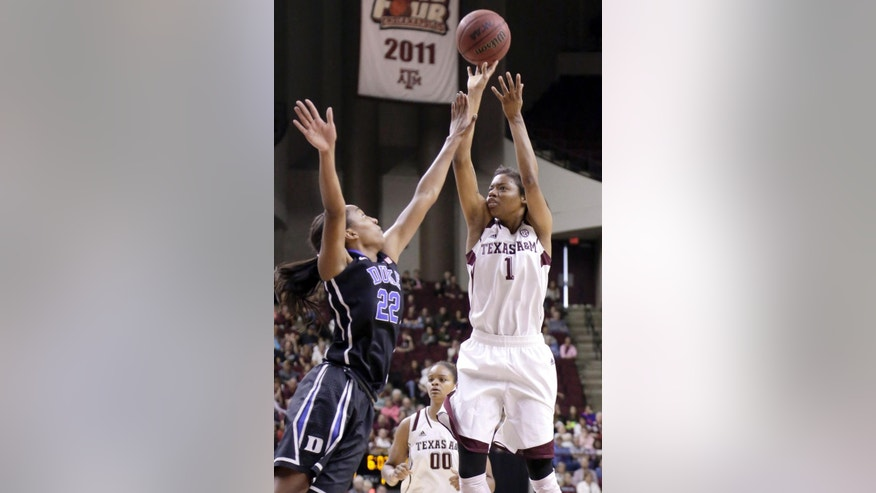 Texas A&M's Courtney Williams (1) shoots over Duke's Oderah Chidom (22) during the first half of an NCAA college basketball game Sunday, Nov. 30, 2014, in College Station, Texas. (AP Photo/Pat Sullivan)