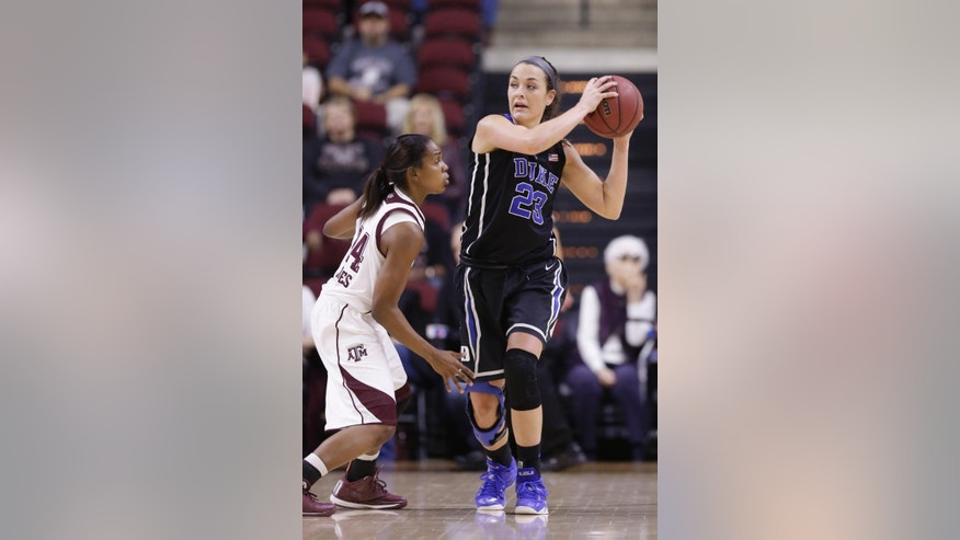 Duke's Rebecca Greenwell (23) looks to pass the ball around Texas A&M's Jordan Jones (24) during the first half of an NCAA college basketball game Sunday, Nov. 30, 2014, in College Station, Texas. (AP Photo/Pat Sullivan)