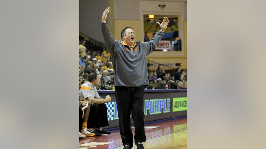 Tennessee head coach Donnie Tyndall reacts during the first half of an NCAA college basketball game against Marquette in Lake Buena Vista, Fla., Sunday, Nov. 30, 2014. (AP Photo/Reinhold Matay)