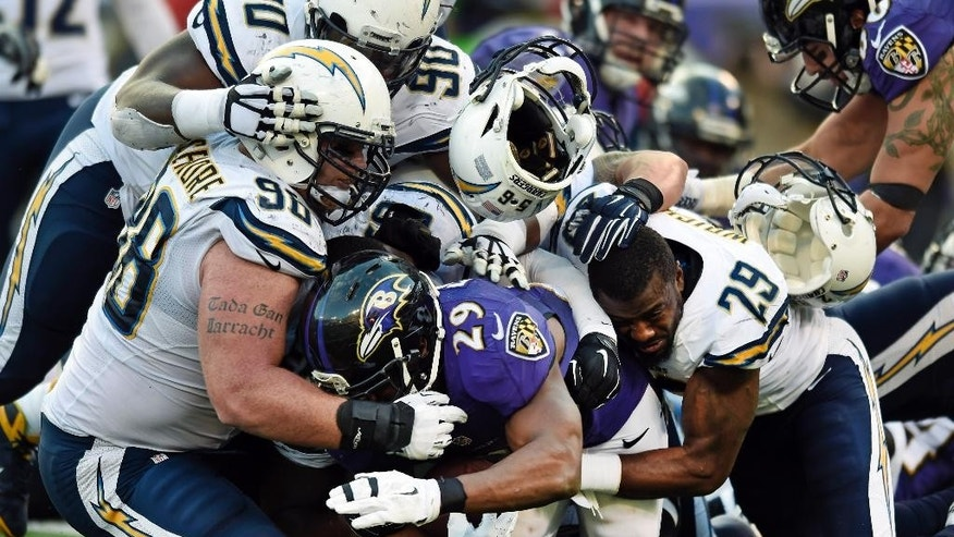 Baltimore Ravens running back Justin Forsett (29) is tackled by a group of San Diego Chargers defenders in the second half of an NFL football game, Sunday, Nov. 30, 2014, in Baltimore. San Diego won 34-33. (AP Photo/Gail Burton)
