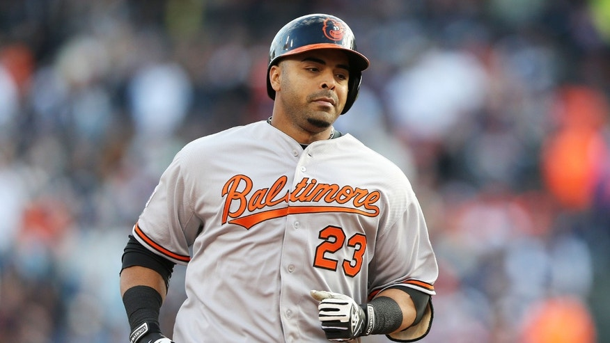 DETROIT, MI - OCTOBER 05:  Nelson Cruz #23 of the Baltimore Orioles rounds the bases after hitting a home run in the sixth inning against the Detroit Tigers during Game Three of the American League Division Series at Comerica Park on October 5, 2014 in Detroit, Michigan.  (Photo by Leon Halip/Getty Images)