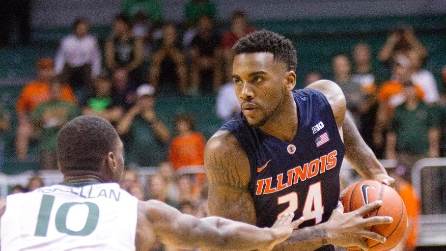 Illinois guard Rayvonte Rice (24) looks for an open teammate past Miami guard Sheldon McClellan (10) during the first half of an NCAA college basketball game, Tuesday, Dec. 2, 2014 in Coral Gables, Fla. (AP Photo/Wilfredo Lee),