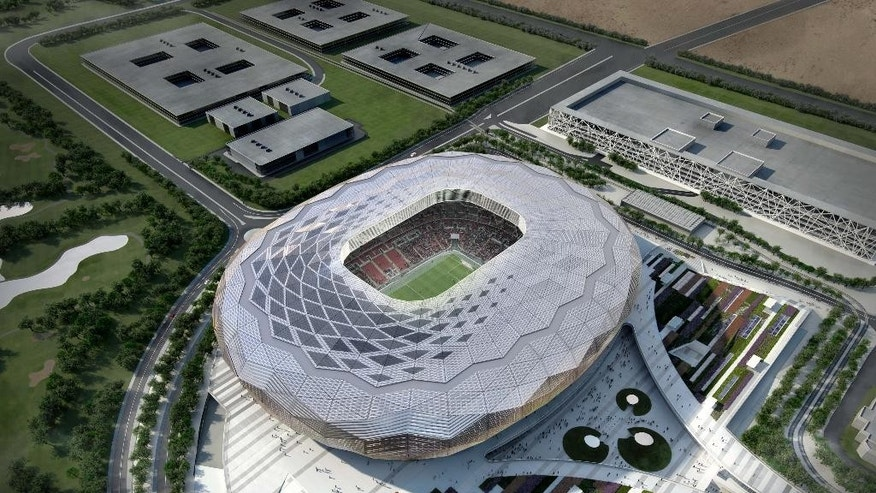 This is an image released on Tuesday Dec. 2, 2014 by Qatar's Supreme Committee for Delivery & Legacy of an artist's impression of the Qatar Foundation Stadium .Qatar World Cup organizers have released the design of their fourth stadium on the fourth anniversary of their 2022 bid success. The Qatar Foundation stadium in the capital Doha is being designed to seat 40,000, with the capacity reduced to 25,000 after the tournament. (AP Photo/Qatar's Supreme Committee for Delivery & Legacy)