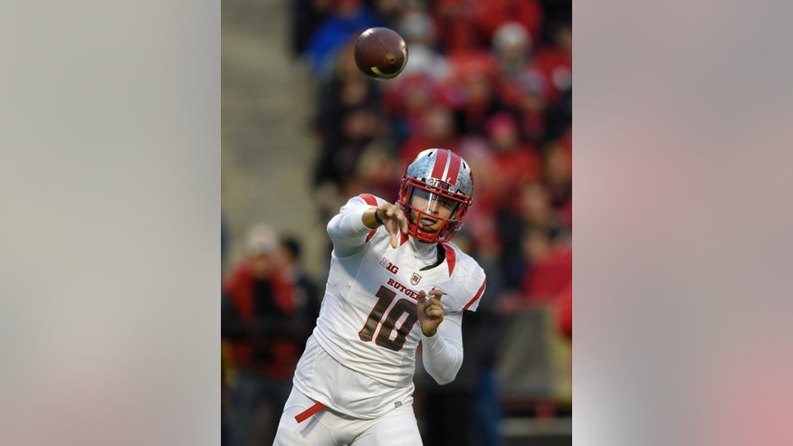 Rutgers quarterback Gary Nova (10) passes during the first half of an NCAA college football game against Maryland, Saturday, Nov. 29, 2014, in College Park, Md. (AP Photo/Nick Wass)