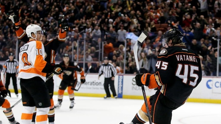Anaheim Ducks defenseman Sami Vatanen celebrates his goal against the Philadelphia Flyers during the second period of an NHL hockey game in Anaheim, Calif., Wednesday, Dec. 3, 2014. (AP Photo/Chris Carlson)