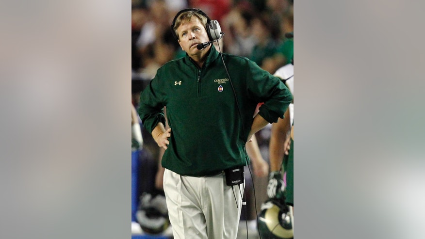FILE - In this Sept. 21, 2013, file photo, Colorado State head coach Jim McElwain watches a replay during the second half of an NCAA college football game against Alabama in Tuscaloosa, Ala. A person familiar with the search says Florida has hired McElwain as its next football coach. The person spoke to The Associated Press on Thursday, Dec. 4, 2014, on the condition of anonymity because the Gators have not announced details of their coaching search. The person says McElwain officially accepted the job Wednesday after working out deal to reduce a $7.5 million buyout. (AP Photo/Butch Dill, File)