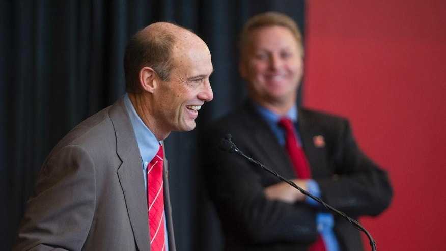 Nebraska's new football coach Mike Riley addresses the media during an NCAA college football news conference at Memorial Stadium on Friday, Dec. 5, 2014 in Lincoln, Neb.  Riley, who came from Oregon State, replaces Bo Pelini who was fired last Sunday. (AP Photo/The Journal-Star, Matt Ryerson) LOCAL TELEVISION OUT; KOLN-TV OUT; KGIN-TV OUT; KLKN-TV OUT