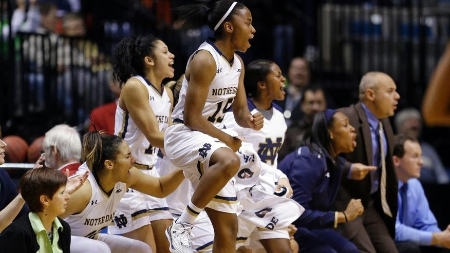 The Notre Dame bench, including guard Lindsay Allen  celebrate in the second half of a women's NCAA college basketball game against Maryland in Fort Wayne, Ind., Wednesday, Dec. 3, 2014.  (AP Photo/Michael Conroy)