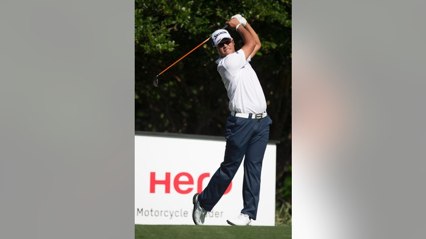 Hideki Matsuyama, of Japan, tess off on the ninth hole during the third round of the Hero World Challenge golf tournament on Saturday, Dec. 6, 2014, in Windermere, Fla. (AP Photo/Willie J. Allen Jr.)