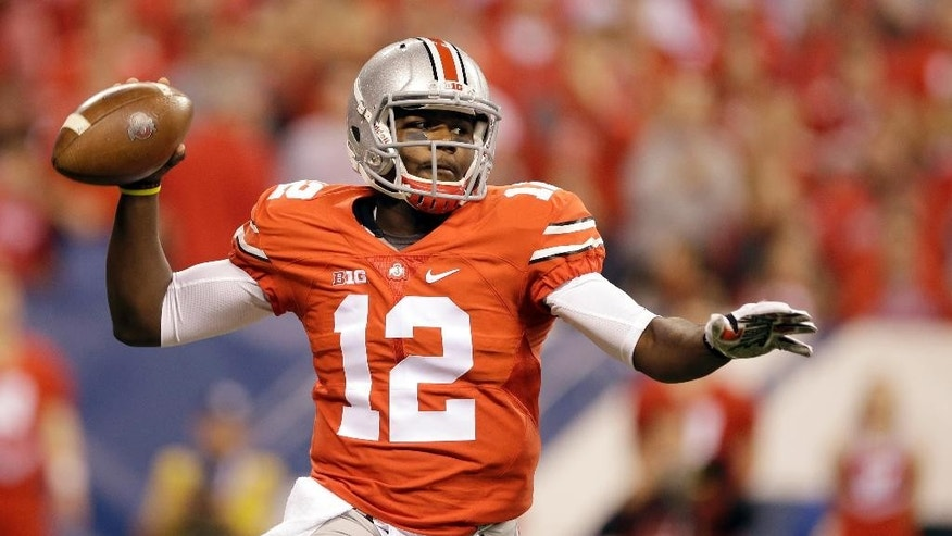 Ohio State quarterback Cardale Jones throws during the first half of the Big Ten Conference championship NCAA college football game against Wisconsin Saturday, Dec. 6, 2014, in Indianapolis. (AP Photo/Darron Cummings)