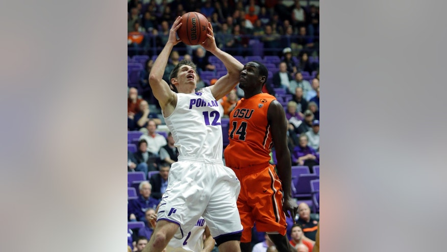 Portland center Thomas van der Mars, left, pulls in a rebound against Oregon State forward Daniel Gomis during the first half of an NCAA college basketball game in Portland, Ore., Saturday, Dec. 6, 2014. (AP Photo/Don Ryan)