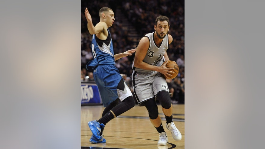 San Antonio Spurs guard Marco Belinelli, of Italy, drives around Minnesota Timberwolves guard Zach LaVine, left, during the first half of an NBA basketball game, Saturday, Dec. 6, 2014, in San Antonio. (AP Photo/Darren Abate)