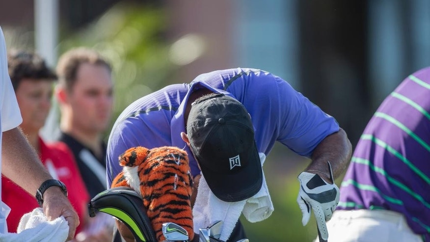 Tiger Woods retches into a towel on the first tee during the third round of the Hero World Challenge golf tournament on Saturday, Dec. 6, 2014, in Windermere, Fla. Woods was apparently nauseous before and during the round.  (AP Photo/Willie J. Allen Jr.)