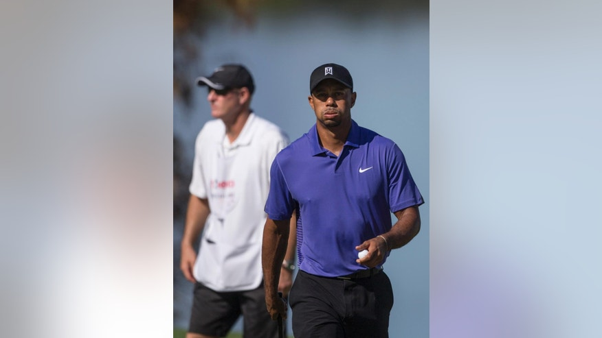 Tiger Woods plays during the third round of the Hero World Challenge golf tournament on Saturday, Dec. 6, 2014, in Windermere, Fla. Woods lost his voice overnight and was nauseated before and during the third round at Isleworth. (AP Photo/Willie J. Allen Jr.)