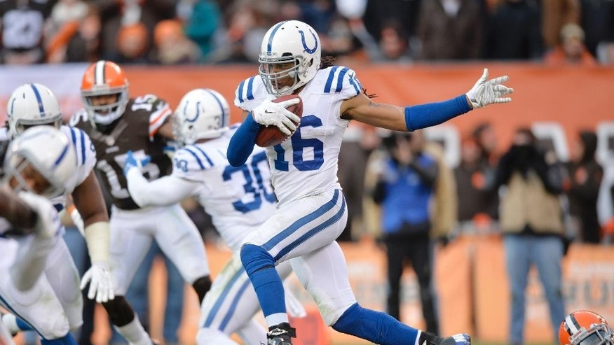 Indianapolis Colts' Josh Cribbs (16) returns a kick against the Cleveland Browns in the fourth quarter of an NFL football game Sunday, Dec. 7, 2014, in Cleveland. (AP Photo/David Richard)