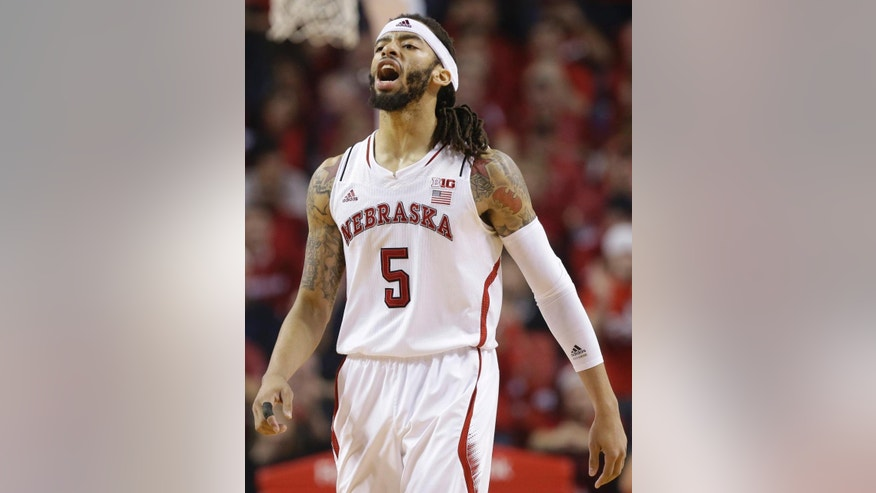 Nebraska's Terran Petteway (5) reacts after scoring against Creighton during the first half of an NCAA college basketball game in Lincoln, Neb., Sunday, Dec. 7, 2014. (AP Photo/Nati Harnik)