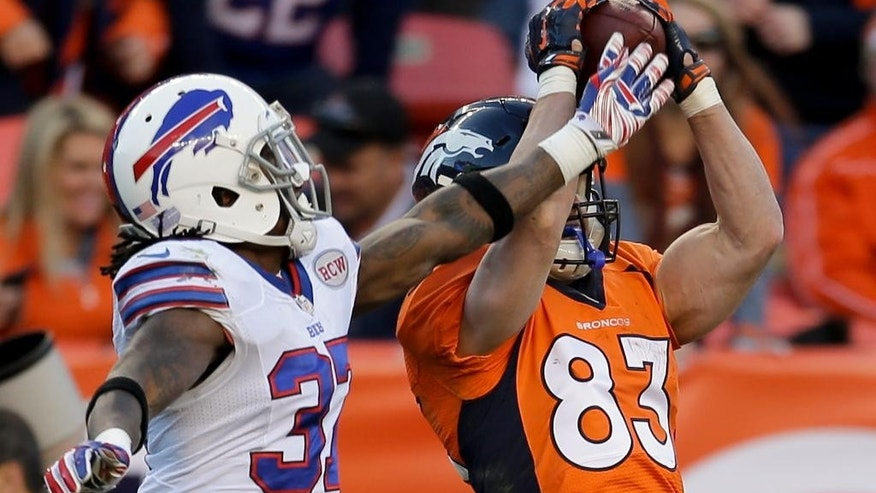 Denver Broncos wide receiver Wes Welker, right, hauls in a pass in front of Buffalo Bills defensive back Nickell Robey during the second half in an NFL football game Sunday, Dec. 7, 2014, in Denver. (AP Photo/Joe Mahoney)