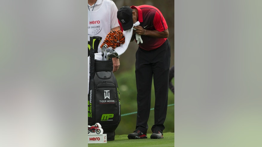 Tiger Woods wipes his face during the final round of the Hero World Challenge golf tournament on Sunday, Dec. 7, 2014, in Windermere, Fla. (AP Photo/Willie J. Allen Jr.)
