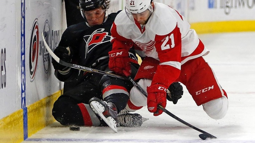 Detroit Red Wings' Tomas Tatar (21) crashes into Carolina Hurricanes' Alexander Semin (28), of Russia, taking him off the puck during the first period of an NHL hockey game in Raleigh, N.C., Sunday, Dec. 7, 2014. (AP Photo/Karl B DeBlaker)