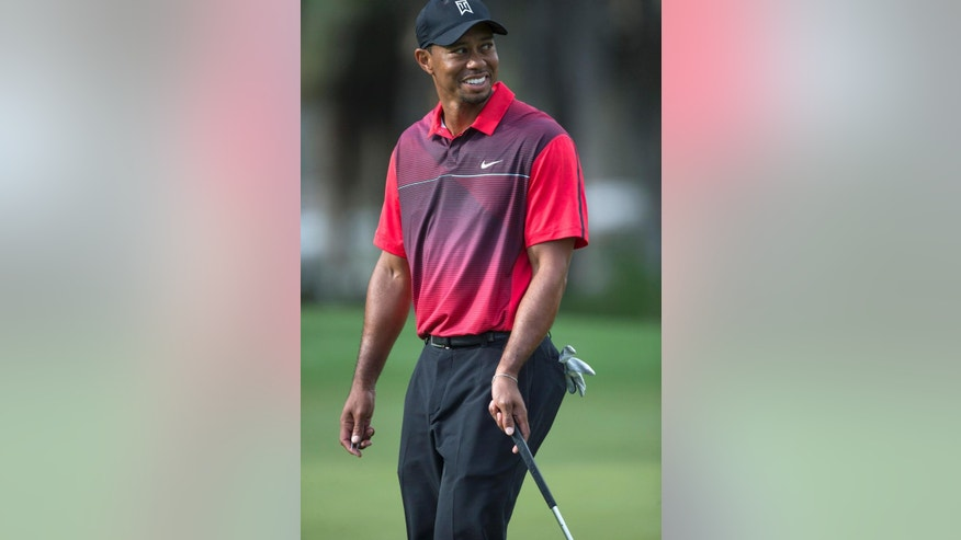 Tiger Woods gives the crowd a smile from the 18th green during the final round of the Hero World Challenge golf tournament on Sunday, Dec. 7, 2014, in Windermere, Fla. (AP Photo/Willie J. Allen Jr.)