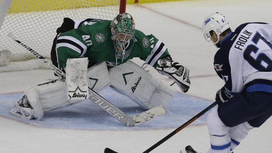 Winnipeg Jets right wing Michael Frolik (67) closes in on goal against Dallas Stars goalie Jussi Rynnas (40) on his way to scoring a goal during the second period of an NHL hockey game Tuesday, Dec. 9, 2014, in Dallas. The Jets won 5-2. (AP Photo/LM Otero)