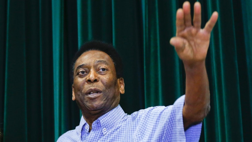 Pele during a news conference at the Albert Einstein Hospital in Sao Paulo, Tuesday, Dec. 9, 2014.