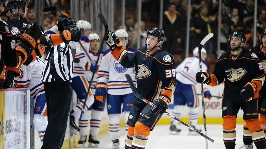 Anaheim Ducks' Matt Beleskey celebrates his goal during the first period of an NHL hockey game against the Edmonton Oilers, Wednesday, Dec. 10, 2014, in Anaheim, Calif. (AP Photo/Jae C. Hong)