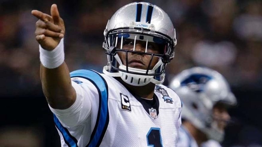 Dec. 7, 2014: Carolina Panthers quarterback Cam Newton (1) gestures after a first down in the first half of an NFL football game against the New Orleans Saints in New Orleans. (AP)