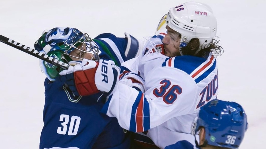 New York Rangers right wing Mats Zuccarello (36) gets up close to Vancouver Canucks goalie Ryan Miller as he sends a shot past him during the second period of an NHL hockey game, Saturday, Dec. 13, 2014 in Vancouver, British Columbia. (AP Photo/The Canadian Press, Jonathan Hayward)