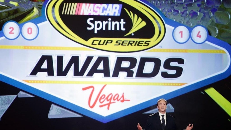 "FILE - In this Dec. 5, 2014, file photo, Jay Mohr hosts the NASCAR Sprint Cup Series auto racing awards at Wynn Las Vegas in Las Vegas. Sprint informed NASCAR it won't extend title sponsorship of the top Sprint Cup Series beyond its current contract, which expires after the 2016 season. ""Sprint has long benefitted from the unprecedented level of brand integration available in NASCAR, and the passionate fan base that is the most loyal in sports,"" Steve Gaffney, vice president of marketing for Sprint, said in a Tuesday, Dec. 16, 2014, statement. (AP Photo/Isaac Brekken, File)"