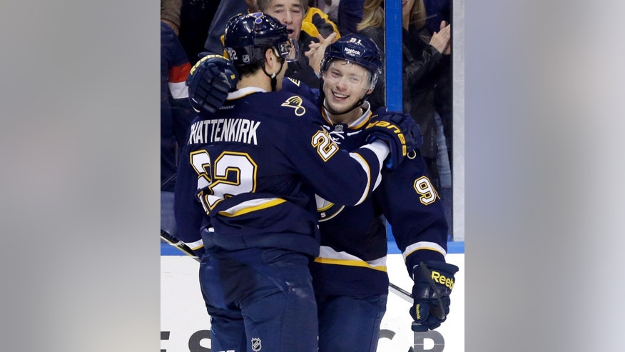 St. Louis Blues' Vladimir Tarasenko, of Russia, is congratulated by teammate Kevin Shattenkirk, left, after scoring his second goal of an NHL hockey game during the third period against the Los Angeles Kings, Tuesday, Dec. 16, 2014, in St. Louis. Tarasenko scored a third goal later in the period to help the Blues to a 5-2 victory. (AP Photo/Jeff Roberson)