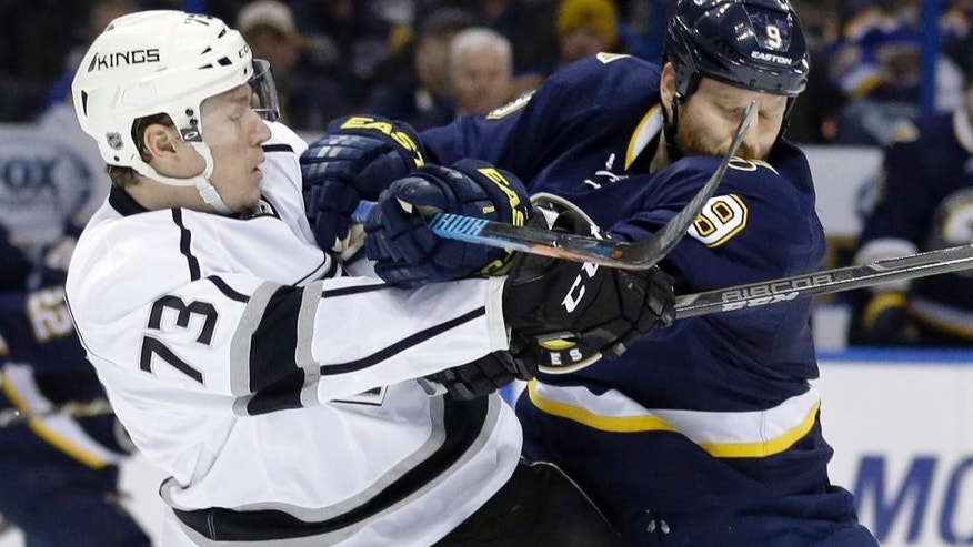 St. Louis Blues' Steve Ott, right, checks Los Angeles Kings' Tyler Toffoli during the second period of an NHL hockey game Tuesday, Dec. 16, 2014, in St. Louis. (AP Photo/Jeff Roberson)