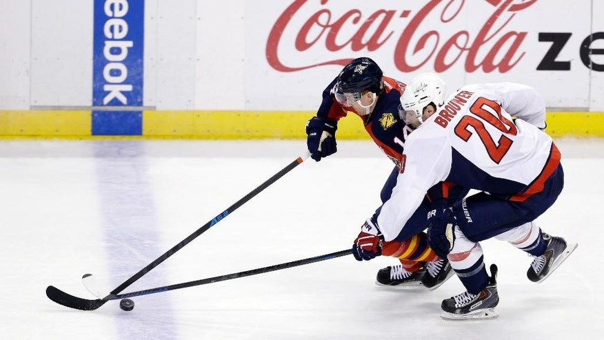 Florida Panthers left wing Tomas Fleischmann (14) drives against Washington Capitals right wing Troy Brouwer (20) during the first period of an NHL hockey game, in Sunrise, Fla., Tuesday, Dec. 16, 2014. (AP Photo/Alan Diaz)