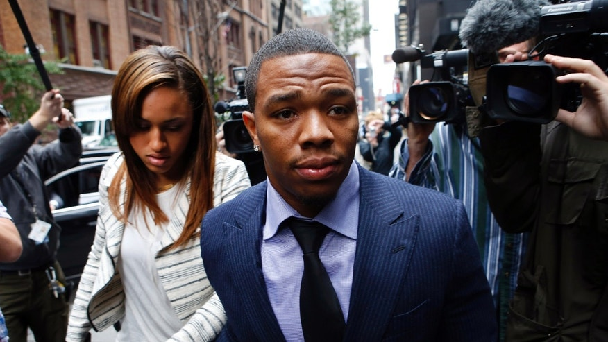 Nov. 5, 2014:  Ray Rice arrives with his wife Janay Palmer for an appeal hearing of his indefinite suspension from the NFL