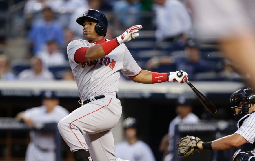 Outfielder Yoenis Cespedes, pictured here in September 2014 when he was then with the Boston Red Sox but who has since been traded to the Detroit Tigers, was a highly-sought free agent in 2012 after he defected from Cuba.