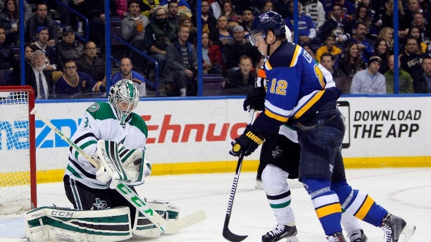 Dallas Stars goalie Kari Lehtonen, of Finland, stops the puck as St. Louis Blues' Jori Lehtera, right, of Finland, watches during the second period of an NHL hockey game Saturday, Dec. 27, 2014, in St. Louis. (AP Photo/Scott Kane)