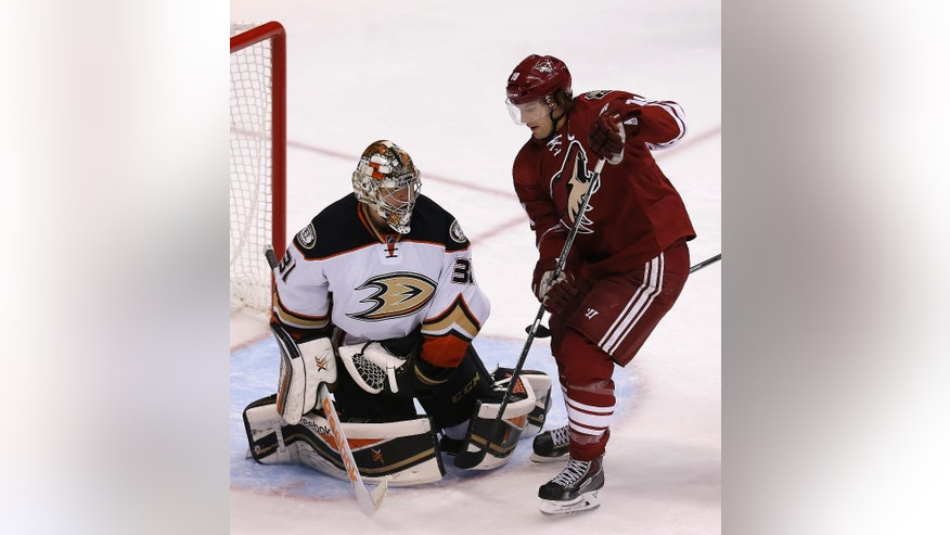 Anaheim Ducks goalie Frederik Andersen (31) makes the save on Arizona Coyotes right wing Shane Doan (19) in the first period during an NHL hockey game, Saturday, Dec. 27, 2014, in Glendale, Ariz. (AP Photo/Rick Scuteri)