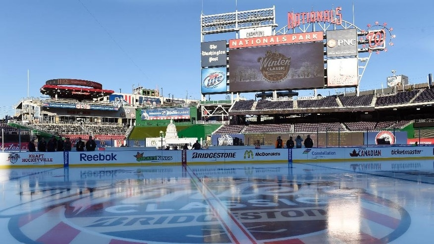 The rink at Nationals Park in Washington stands coated with ice Tuesday, Dec. 30, 2014, in preparation for the  New Year's Day Winter Classic outdoor NHL hockey game between the Washington Capitals and the Chicago Blackhawks. (AP Photo/Susan Walsh)